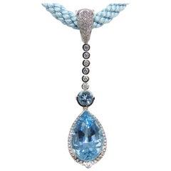 Leyser 950 Platinum Aquamarine & Diamonds Pendant