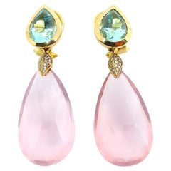 1 Magnificent Pair of Earrings in 18K Rosegold with Beryll, Rosequarz + Diamonds