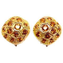 Leyser 18 Karat Red Gold Mandarine Garnets Pair of Earrings
