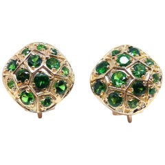 Leyser 18k Red Gold Tsavorites Pair of Earrings