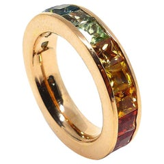 1 Magnificent Ring Set in a 18 Rs.G with Multi-Color Sapphires in Rainbow Image