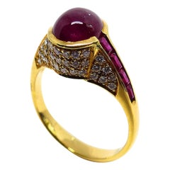 1 Magnificent Ruby Cabouchon, Ruby Squares and Diamonds 18 Karat Gold Ring
