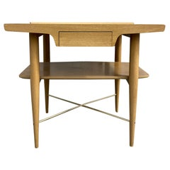 '1' Maple Blonde End Table Nightstand Single Drawer with Shelf X Brass Base