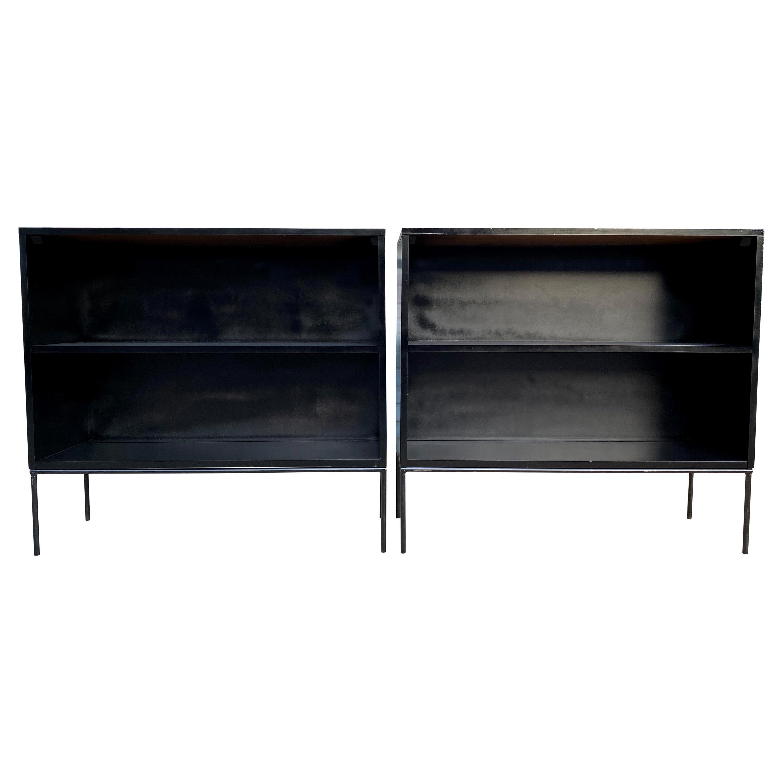 '1' Midcentury Paul McCobb Single Bookshelf #1516 Maple Iron Base Black