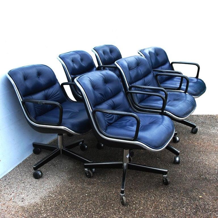 20th Century 1 Navy Blue Knoll Pollock Chair 8 Available For Sale