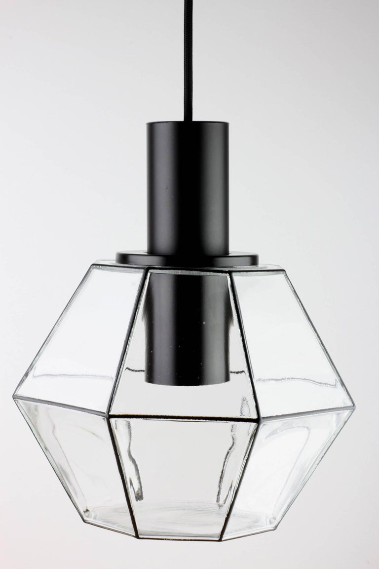 Mid-Century Modern 1 of 10 Minimalist Geometric Black & Clear Glass Pendant Lights by Limburg 1970s For Sale