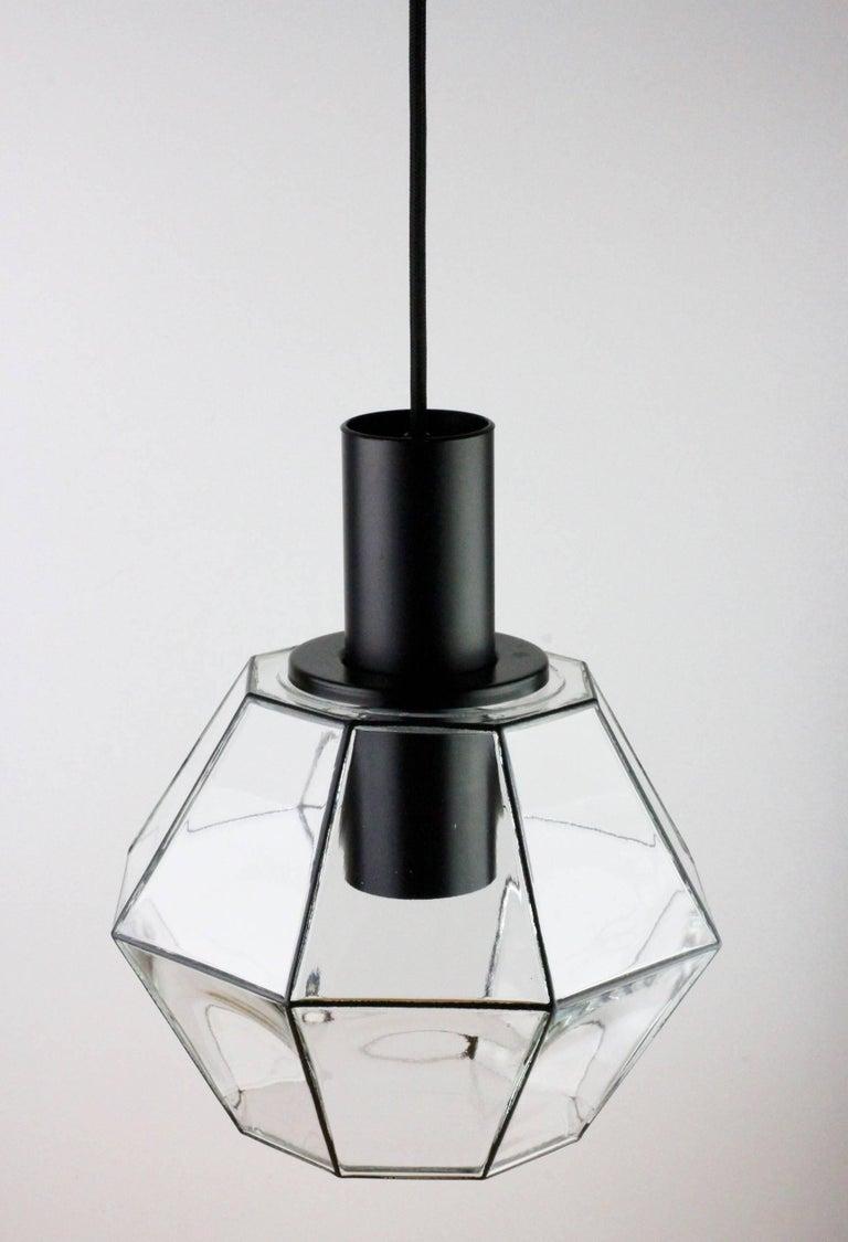 German 1 of 10 Minimalist Geometric Black & Clear Glass Pendant Lights by Limburg 1970s For Sale