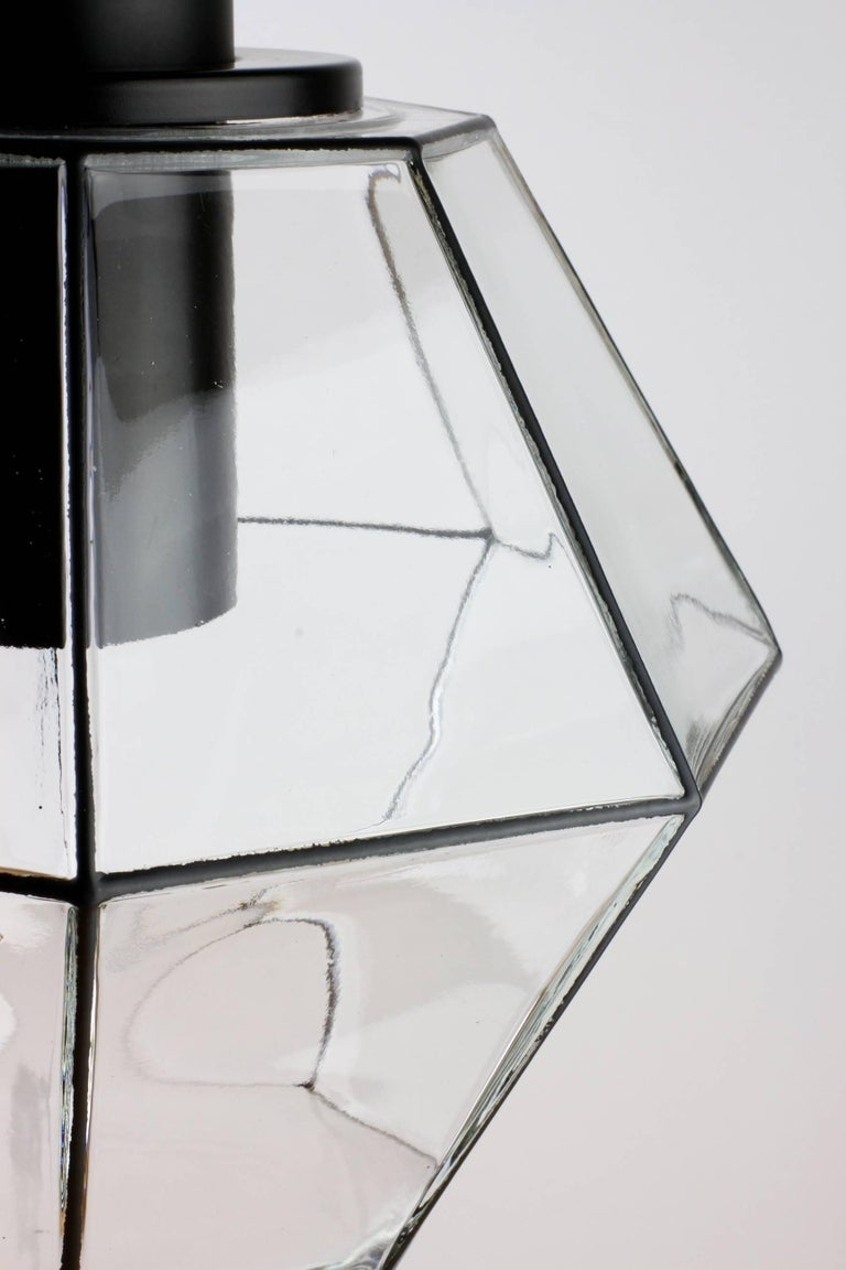Molded 1 of 10 Minimalist Geometric Black & Clear Glass Pendant Lights by Limburg 1970s For Sale