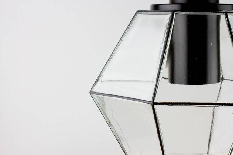 1 of 10 Minimalist Geometric Black & Clear Glass Pendant Lights by Limburg 1970s For Sale 1
