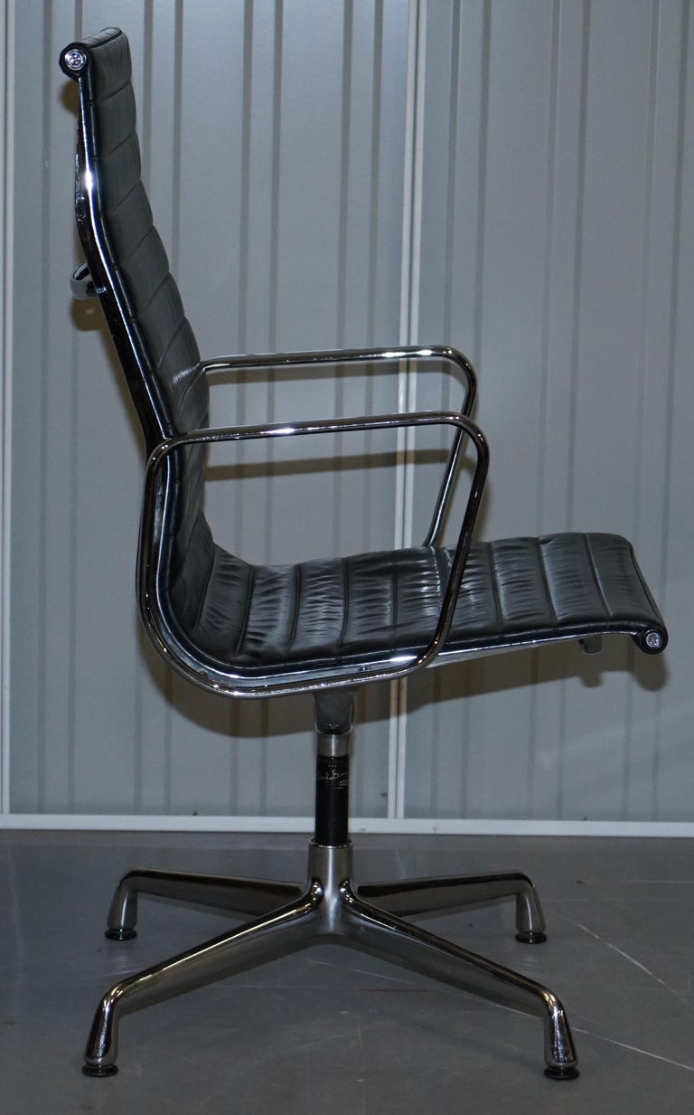 1 of 10 Vitra Eames Herman Miller Black Leather Swivel Office Chairs For Sale 6