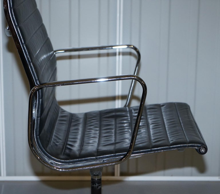 1 of 10 Vitra Eames Herman Miller Black Leather Swivel Office Chairs For Sale 7