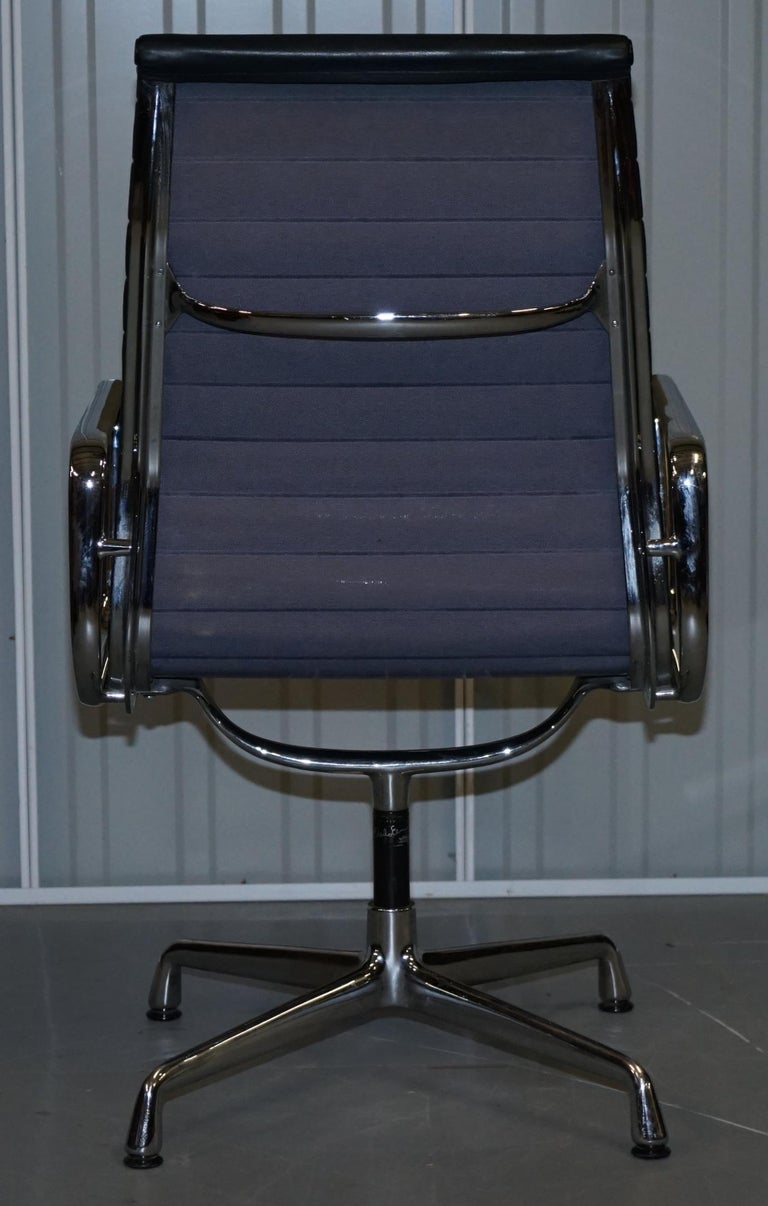 1 of 10 Vitra Eames Herman Miller Black Leather Swivel Office Chairs For Sale 8