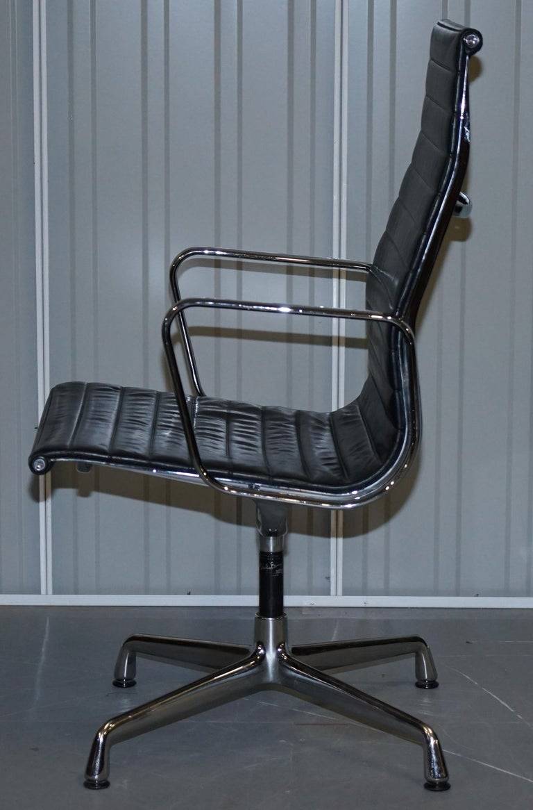 1 of 10 Vitra Eames Herman Miller Black Leather Swivel Office Chairs For Sale 9