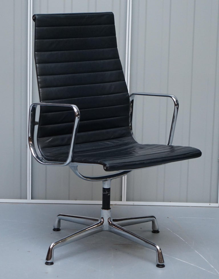 We are delighted to offer for sale 1 of 10 original vintage Charles & Rays Eames, Vitra, Herman Miller high back black leather office swivel armchairs RRP £34,000  These chairs are just about as iconic and well known as any piece of furniture in