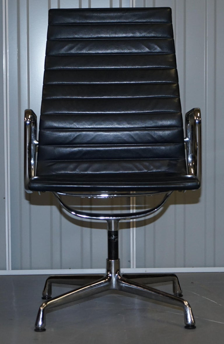 Modern 1 of 10 Vitra Eames Herman Miller Black Leather Swivel Office Chairs For Sale