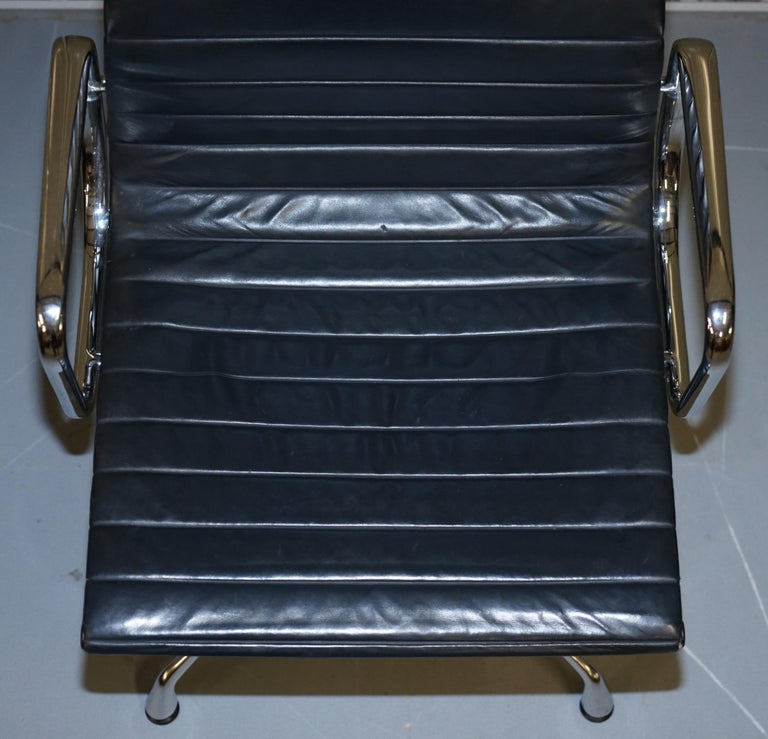20th Century 1 of 10 Vitra Eames Herman Miller Black Leather Swivel Office Chairs For Sale