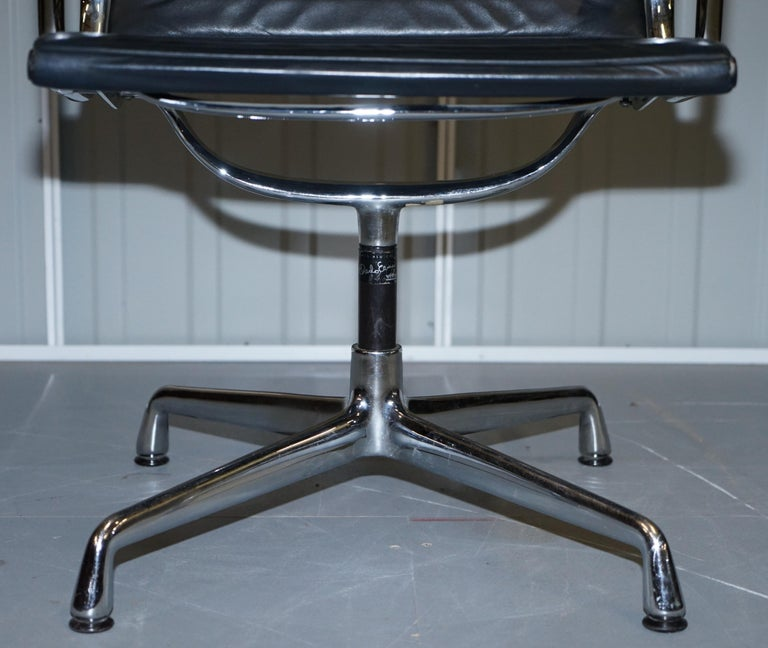 1 of 10 Vitra Eames Herman Miller Black Leather Swivel Office Chairs For Sale 2