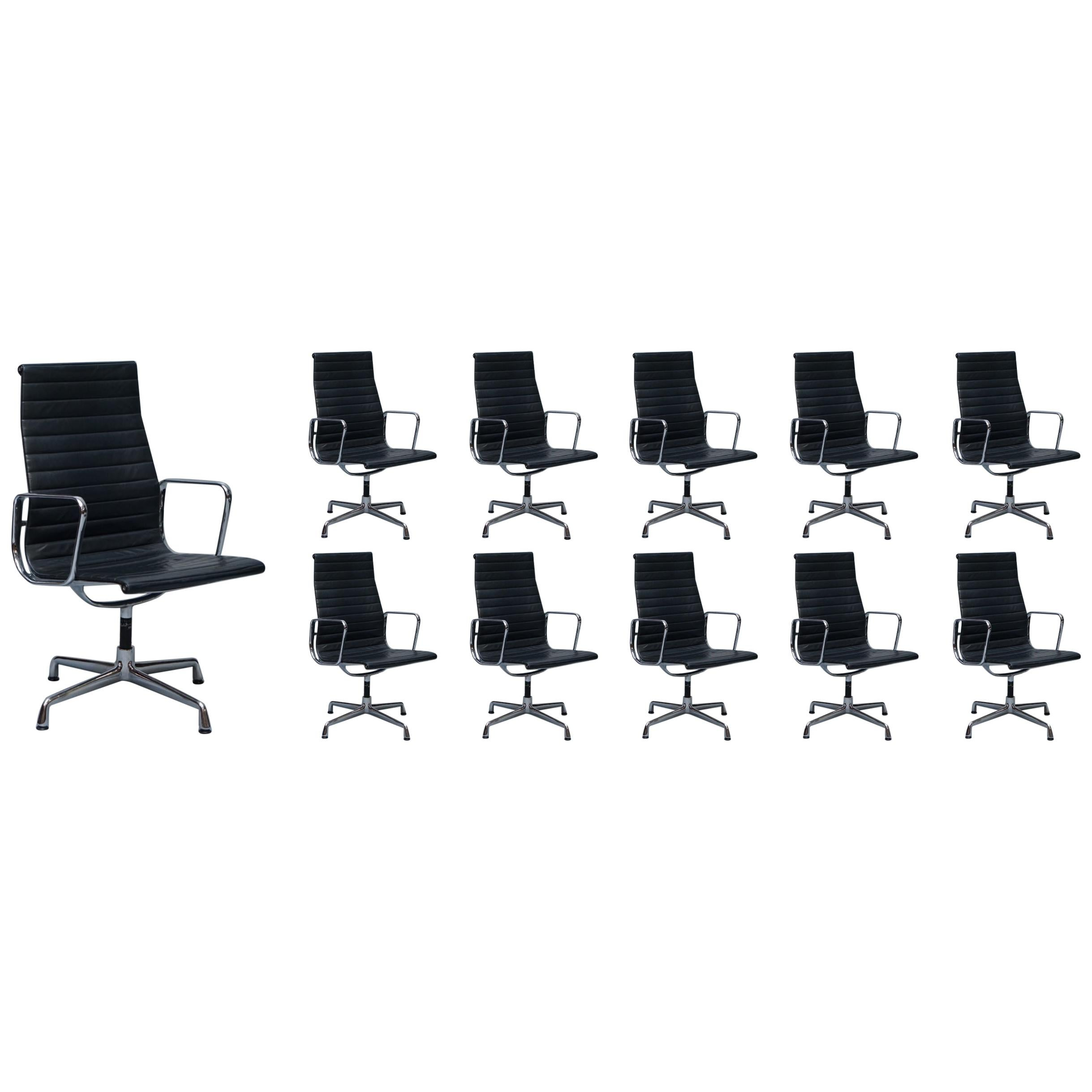 1 of 10 Vitra Eames Herman Miller Black Leather Swivel Office Chairs