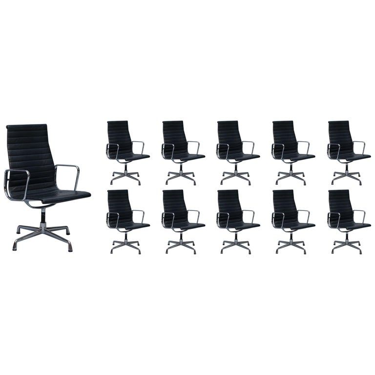1 of 10 Vitra Eames Herman Miller Black Leather Swivel Office Chairs For Sale
