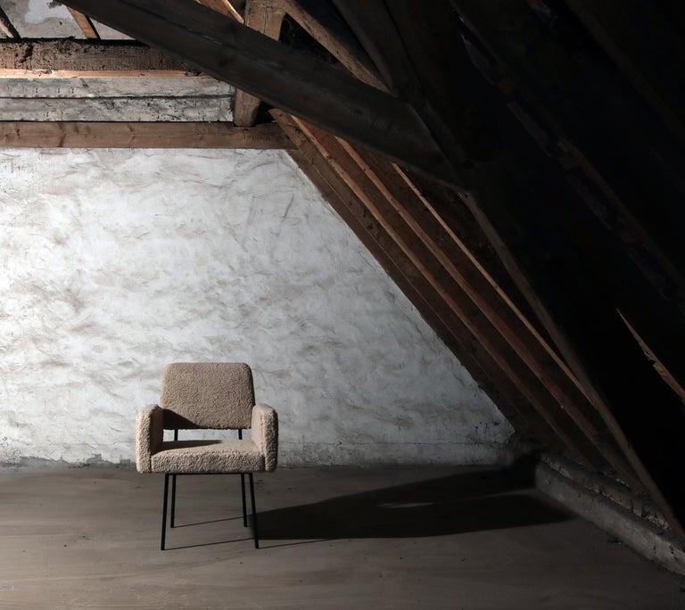 1 of 12 Dining Room Chairs, Armchair Nathan Lindberg Teddy Fur, Metal, Sheepskin For Sale 4