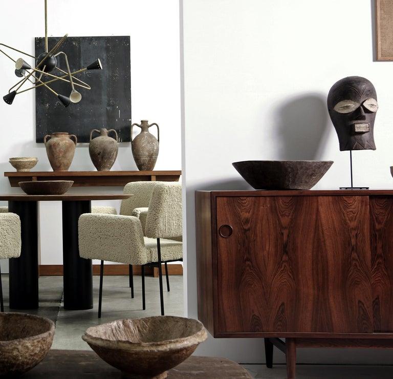 1 of 12 Dining Room Chairs, Armchair Nathan Lindberg Teddy Fur, Metal, Sheepskin For Sale 6