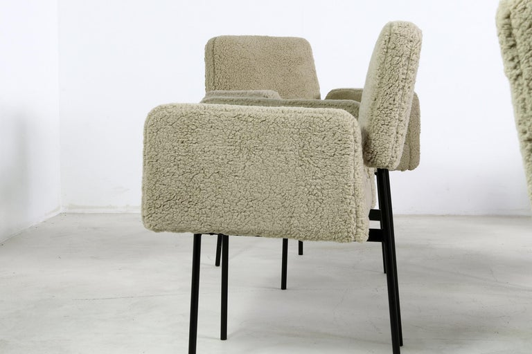 German 1 of 12 Dining Room Chairs, Armchair Nathan Lindberg Teddy Fur, Metal, Sheepskin For Sale
