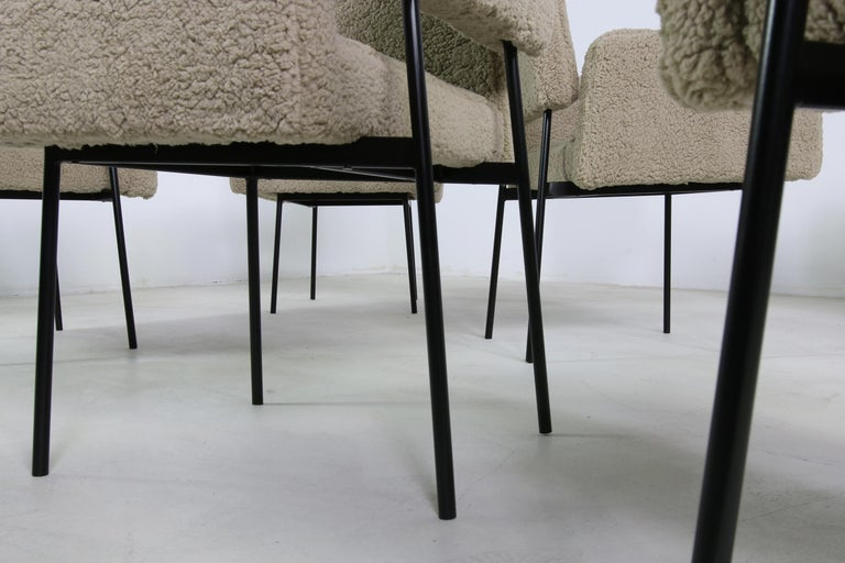 Contemporary 1 of 12 Dining Room Chairs, Armchair Nathan Lindberg Teddy Fur, Metal, Sheepskin For Sale
