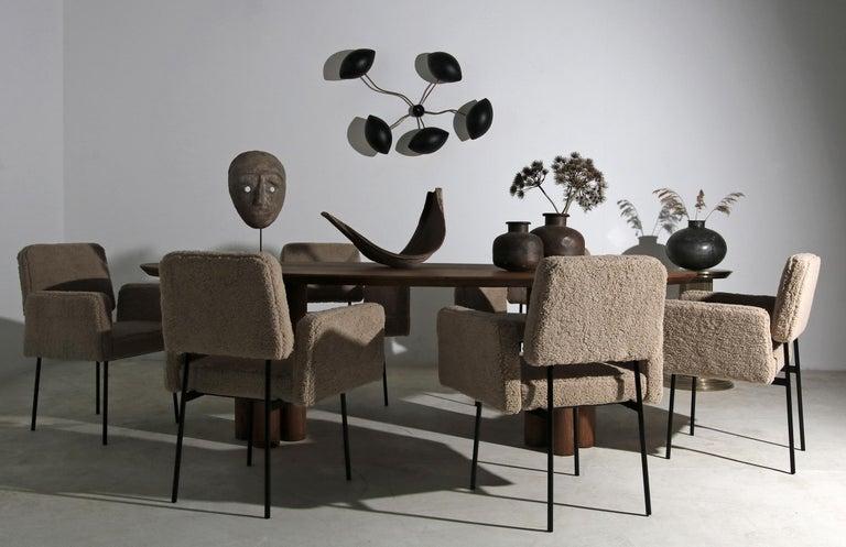 1 of 12 Dining Room Chairs, Armchair Nathan Lindberg Teddy Fur, Metal, Sheepskin For Sale 3