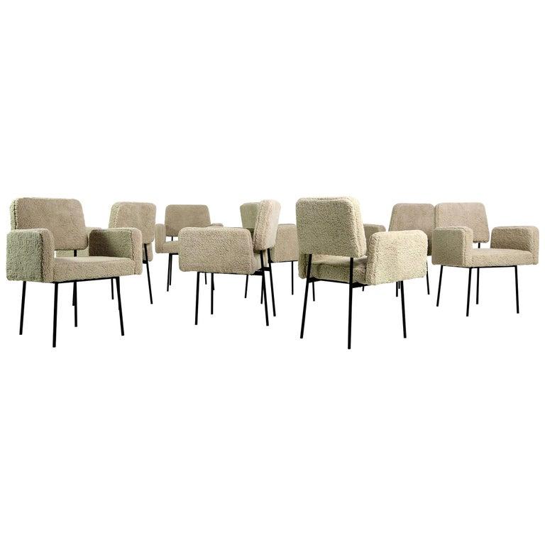 1 of 12 Dining Room Chairs, Armchair Nathan Lindberg Teddy Fur, Metal, Sheepskin For Sale