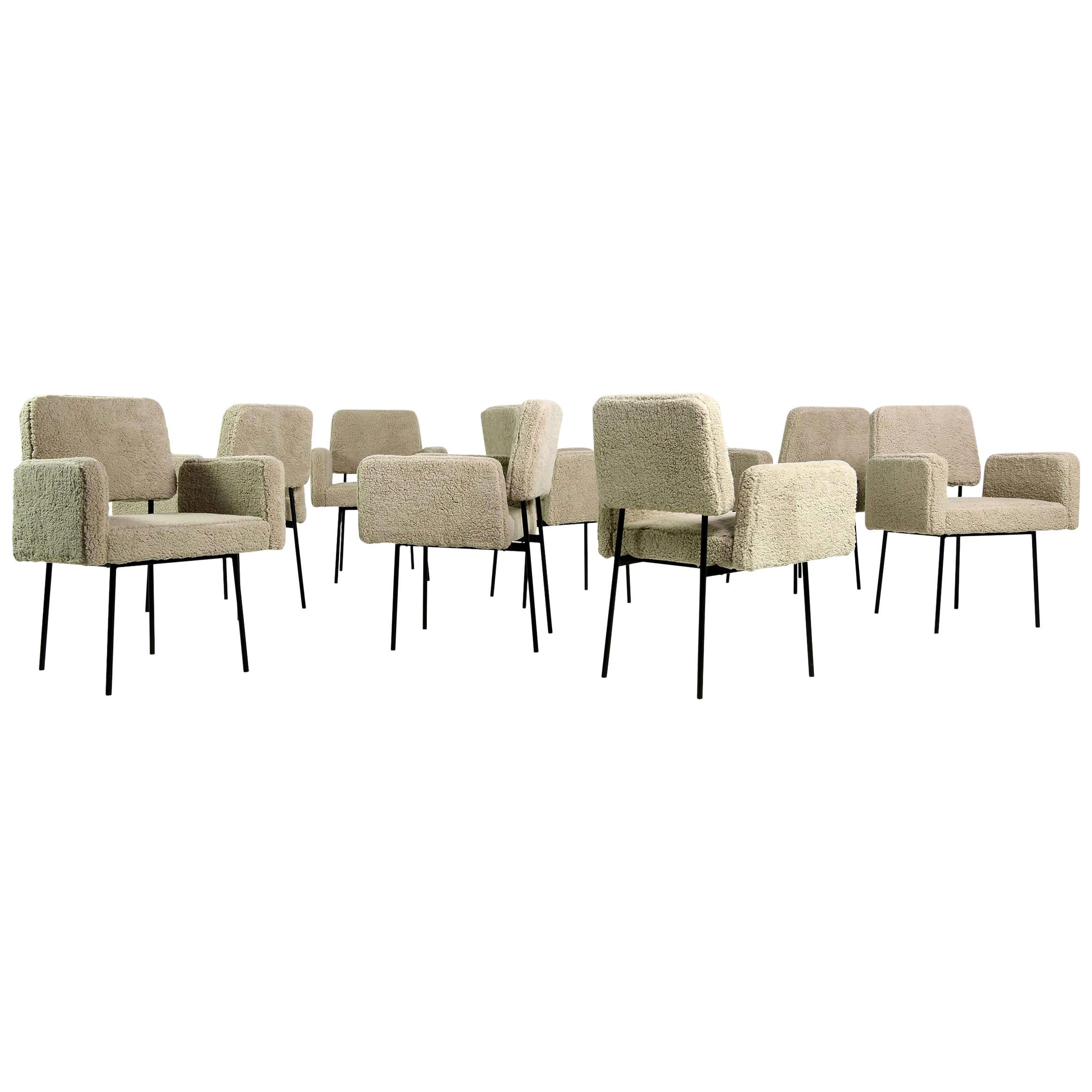 1 of 12 Dining Room Chairs, Armchair Nathan Lindberg Teddy Fur, Metal, Sheepskin