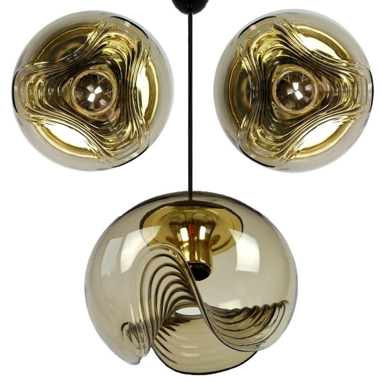 1 of 15 of Koch and Lowy Smoked Glass Wall Sconces/Flush by Peill Putzler For Sale 10