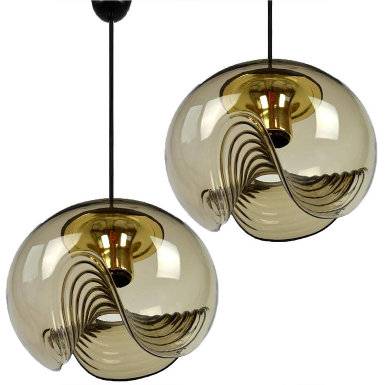 1 of 15 of Koch and Lowy Smoked Glass Wall Sconces/Flush by Peill Putzler For Sale 11