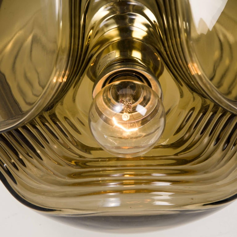 Space Age 1 of 15 of Koch and Lowy Smoked Glass Wall Sconces/Flush by Peill Putzler For Sale