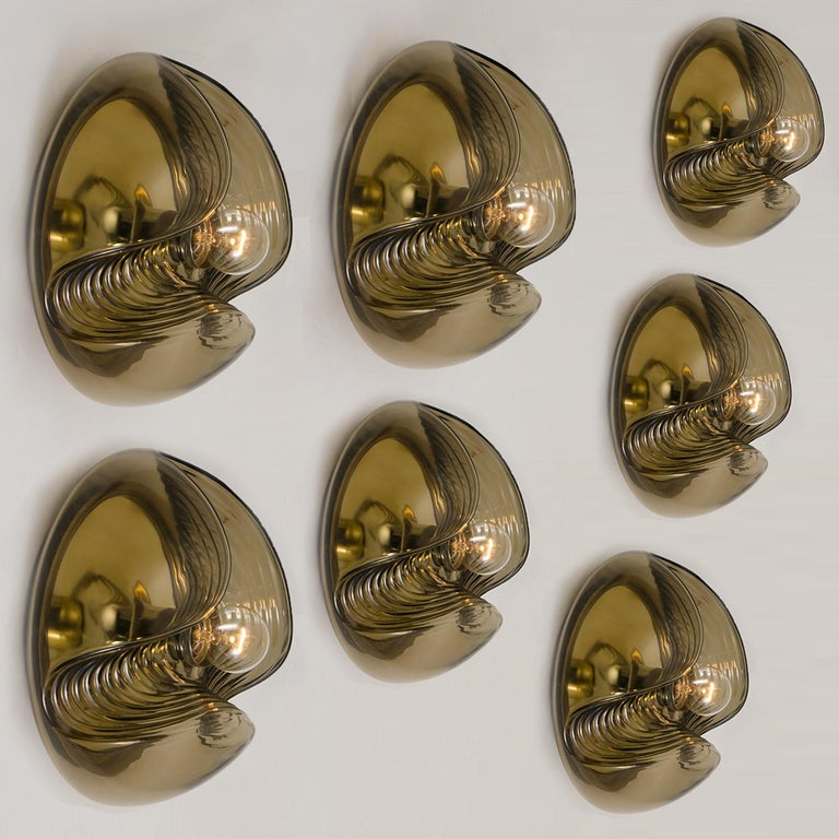Late 20th Century 1 of 15 of Koch and Lowy Smoked Glass Wall Sconces/Flush by Peill Putzler For Sale