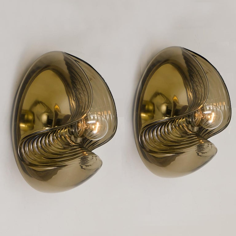 1 of 15 of Koch and Lowy Smoked Glass Wall Sconces/Flush by Peill Putzler For Sale 2