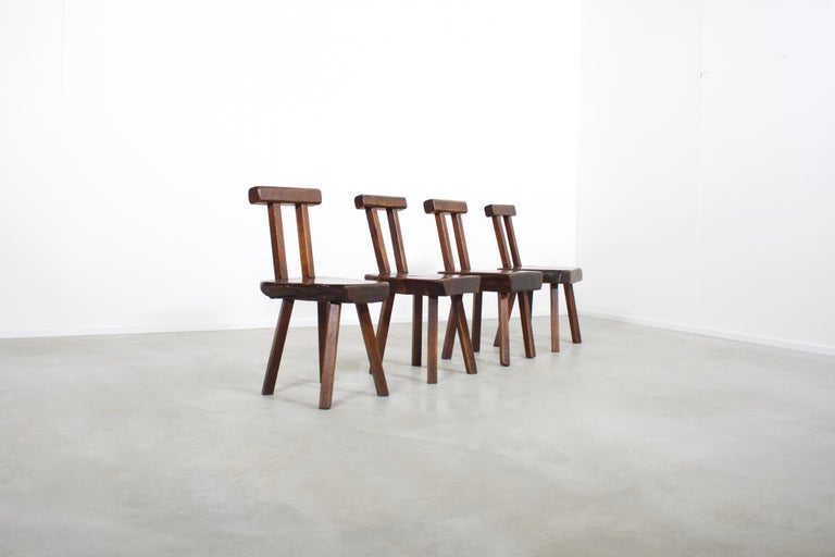 Belgian 1 of 15 Sculptural Brutalist Chairs in Solid Pine by Mobichalet, 1950s For Sale