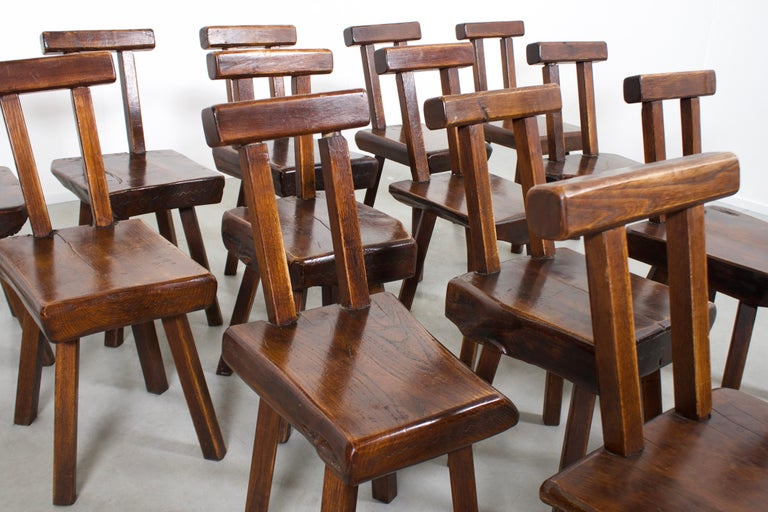 20th Century 1 of 15 Sculptural Brutalist Chairs in Solid Pine by Mobichalet, 1950s For Sale