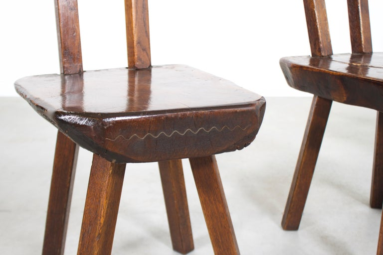 Wood 1 of 15 Sculptural Brutalist Chairs in Solid Pine by Mobichalet, 1950s For Sale