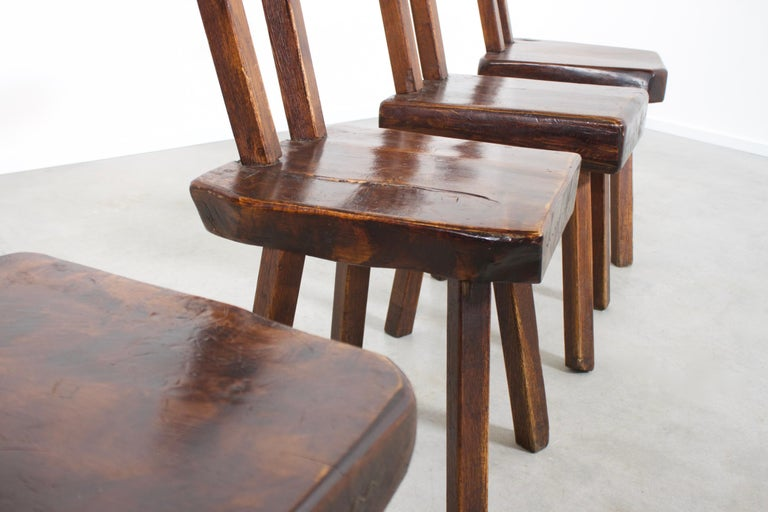 1 of 15 Sculptural Brutalist Chairs in Solid Pine by Mobichalet, 1950s For Sale 1
