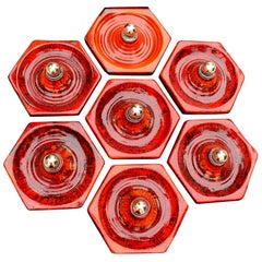 1 of 18 Hexagon Volcano Sconces Wall Lights, Germany, 1970s