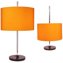 Pair of 2 Adjustable Table Lamps Orange by Staff Lighting, Germany, 1960s