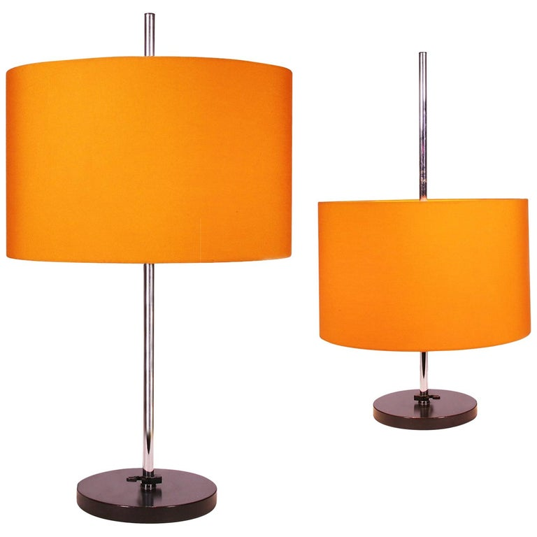 Pair of 2 Adjustable Table Lamps Orange by Staff Lighting, Germany, 1960s For Sale