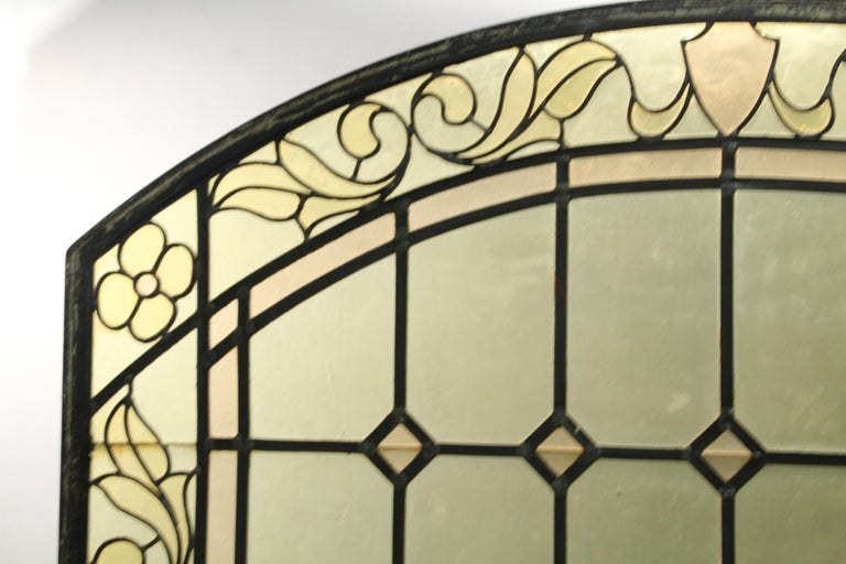 Spanish Colonial 1 of 2 Arched Stained Glass Window For Sale