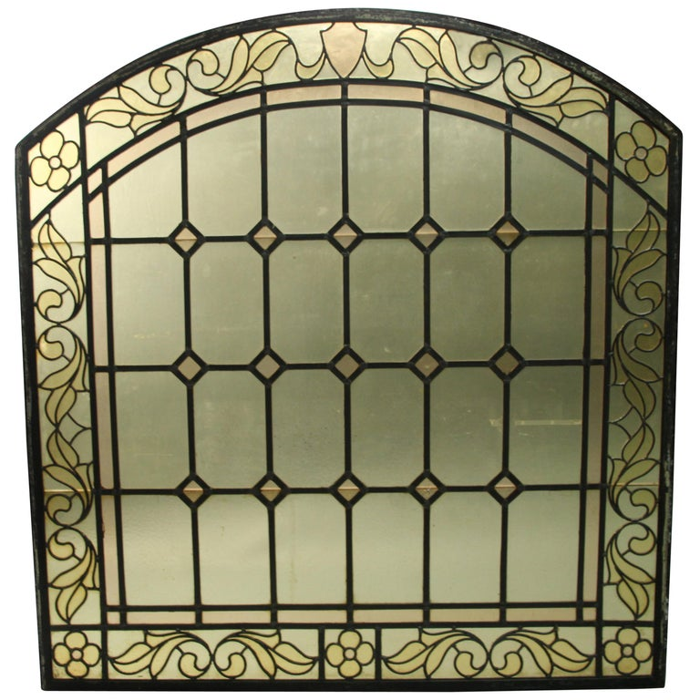 1 of 2 Arched Stained Glass Window For Sale