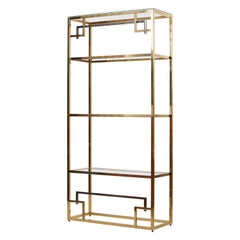 1 of 2 Brass and Gold-Plated Bookshelf or Étagère Attributed to Maison Jansen