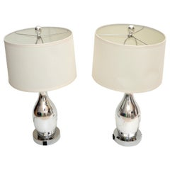 1 of 2 Contemporary Mercury Glass Table Lamp with Harp & Shade