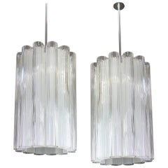 1 of 2 Cylindrical Pendant Fixture with Crystal Glass by Doria, Germany, 1960s