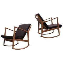1 of 2 Danish Design Style 1950 New Modern Rocking Chair Walnut Brown Cashmere