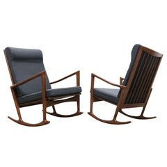 1 of 2 Danish Design Style 1950 New Modern Rocking Chair Walnut Grey Cashmere