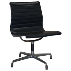 1 of 2  EA101 Vitra Eames Black Leather Office Swivel Conference Chairs